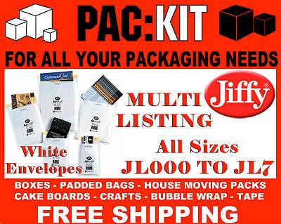 JIFFY Padded Envelopes Bags JL000 - JL7 AirKraft White