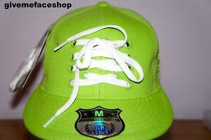 lacets-vert-citron-plat-Casquettes-ajuste-Hip-Hop-Chapeau-BLING