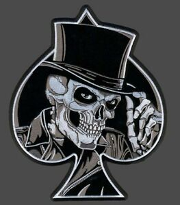SKULL TOP HAT SPADE EMBROIDERED 4 INCH MC BIKER PATCH