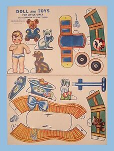 1940's - DOLL AND TOYS FOR LITTLE GIRLS - AN ACCORDION CUT-OUT BOOK