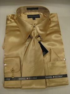 New-D-amp-E-Satin-Dress-Shirt-w-Tie-and-Hanky-Gold-Taupe-Color-All-Sizes