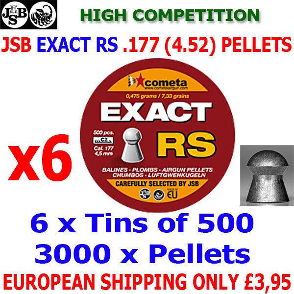 JSB exacta RS .177 4.52mm Airgun Pellets 6 (latas) x500 un. (Alta Competencia)