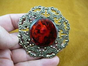 (#BR-253) REd orange Paua sea abalone shell brooch pin pendant