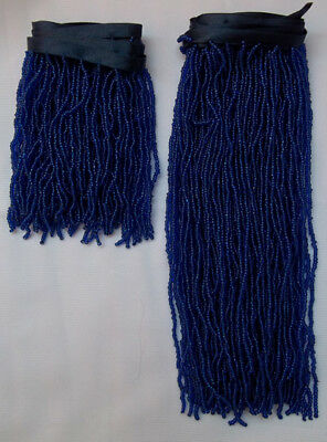 Hand made Egyptian Blue bra & belt belly dance fringes