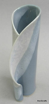 Hilborn Canada Bud Table Vase 6in Unique Curl Edge Blue Bands Art Pottery Decor