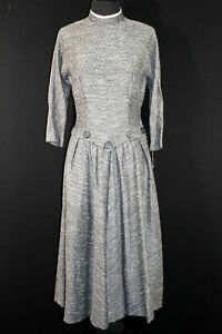 VERY-RARE-DEADSTOCK-1950-039-S-FANCY-GREY-SPECKLED-WOVEN-RAYON-DRESS-SIZE-8