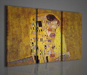 Gustav Klimt Il Bacio Trittico Quadri Moderni per Arredamento Stampe ...