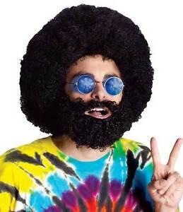 hommes-grand-noir-annees-70-Perruque-afro-BARBE-amp-moustache-DJ-fete-DEGUISEMENT
