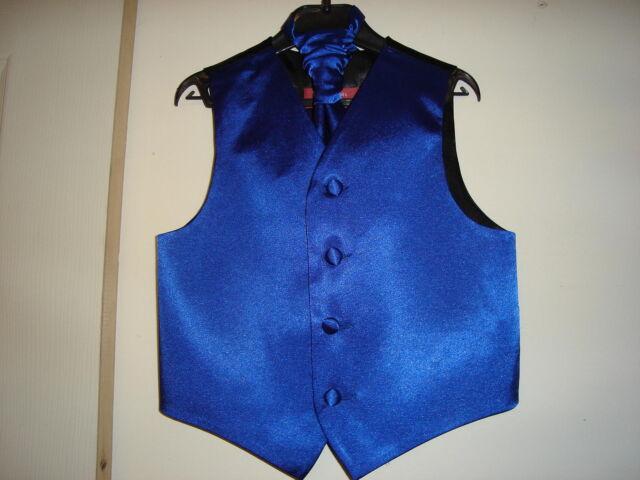 Boys Royal Blue Satin Wedding Waistcoat w/wo Cravat or Tie or Bowtie from 12.75