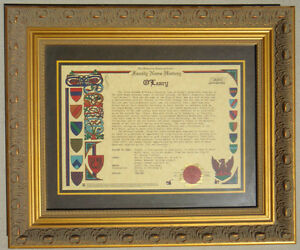 Celtic-O-039-leary-Irish-Family-History-Plaque-Frame-w-Coat-of-Arms-Crest-Picture
