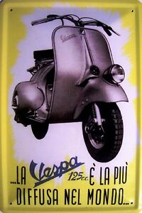 Vespa-Scooter-2-Placa-de-Metal-Cartel-de-lata-20-x-30cm