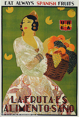 EAT ALWAYS SPANISH FRUITS HEALTHY FOOD WOMAN WITH BASKET VINTAGE POSTER REPRO