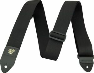 ERNIE-BALL-POLY-PRO-2-034-ELECTRIC-BASS-GUITAR-STRAP-LEATHER-END-BLACK-BLK