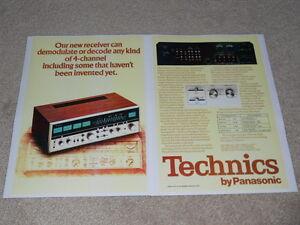 Technics SA-8000x QUAD Receiver Ad, 2 pgs, 1973, Specs, Info, RARE!