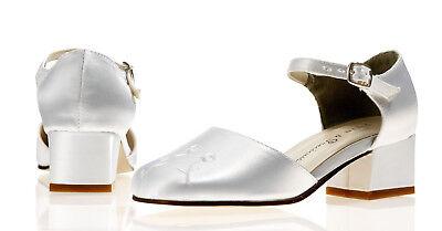 blanco de raso Dama Honor Boda Flor Zapatos Niña Talla 1,2, 3,4, 5,6 pradera