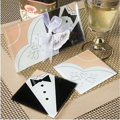 50 Wedding Glass Photo Coaster 1 bride 1 groom set (100 total) Favour Favor Gift