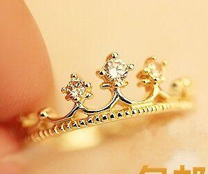 Free-Shipping-Fashion-Rhinestone-Gold-Plated-Tone-Crown-Ring