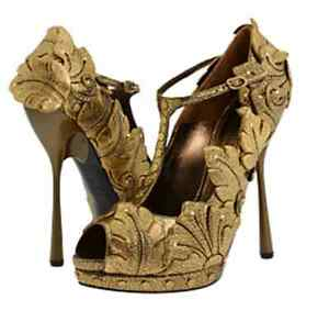 ALEXANDER-MCQUEEN-GOLD-LEAF-T-BAR-PEEP-TOE-COURT-SHOES-UK4-US7-EU37-RARE-NEW
