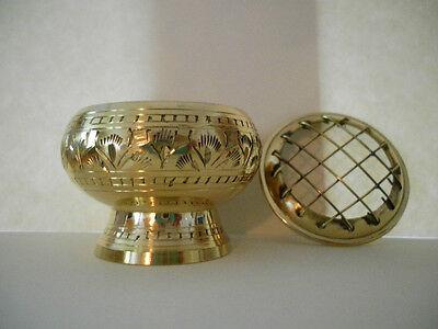 NEW! Ornate Brass charcoal resin incense burner
