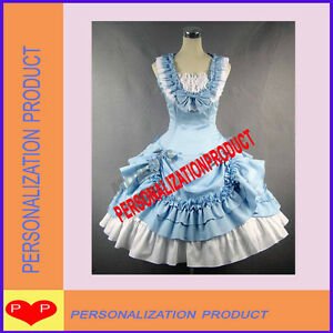 Sweet-lolita-light-blue-Ball-Gown-Halloween-Cosplay-Knee-Length-Dress-amp-Skirt-2p