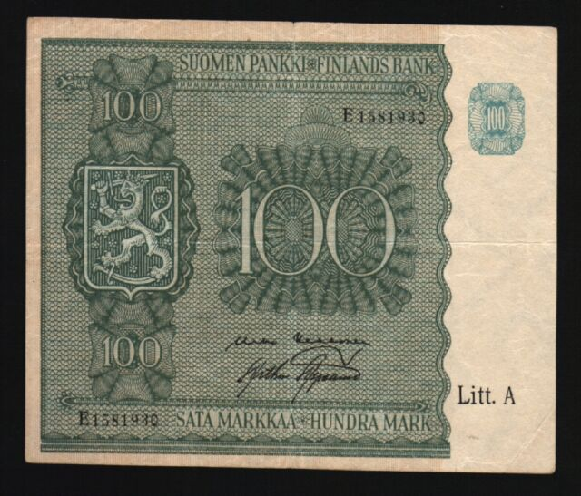 FINLAND 100 MARKKAA P80 1945 PRE EURO LARGE SIZE SCARCE LITT A MONEY BANK NOTE