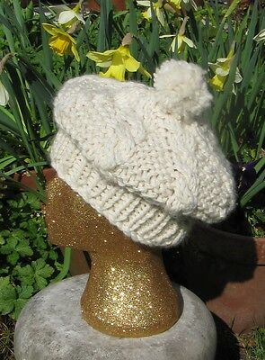 PRINTED  INSTRUCTIONS SUPERFAST CABLE STITCH TAM O' SHANTER HAT KNITTING PATTERN