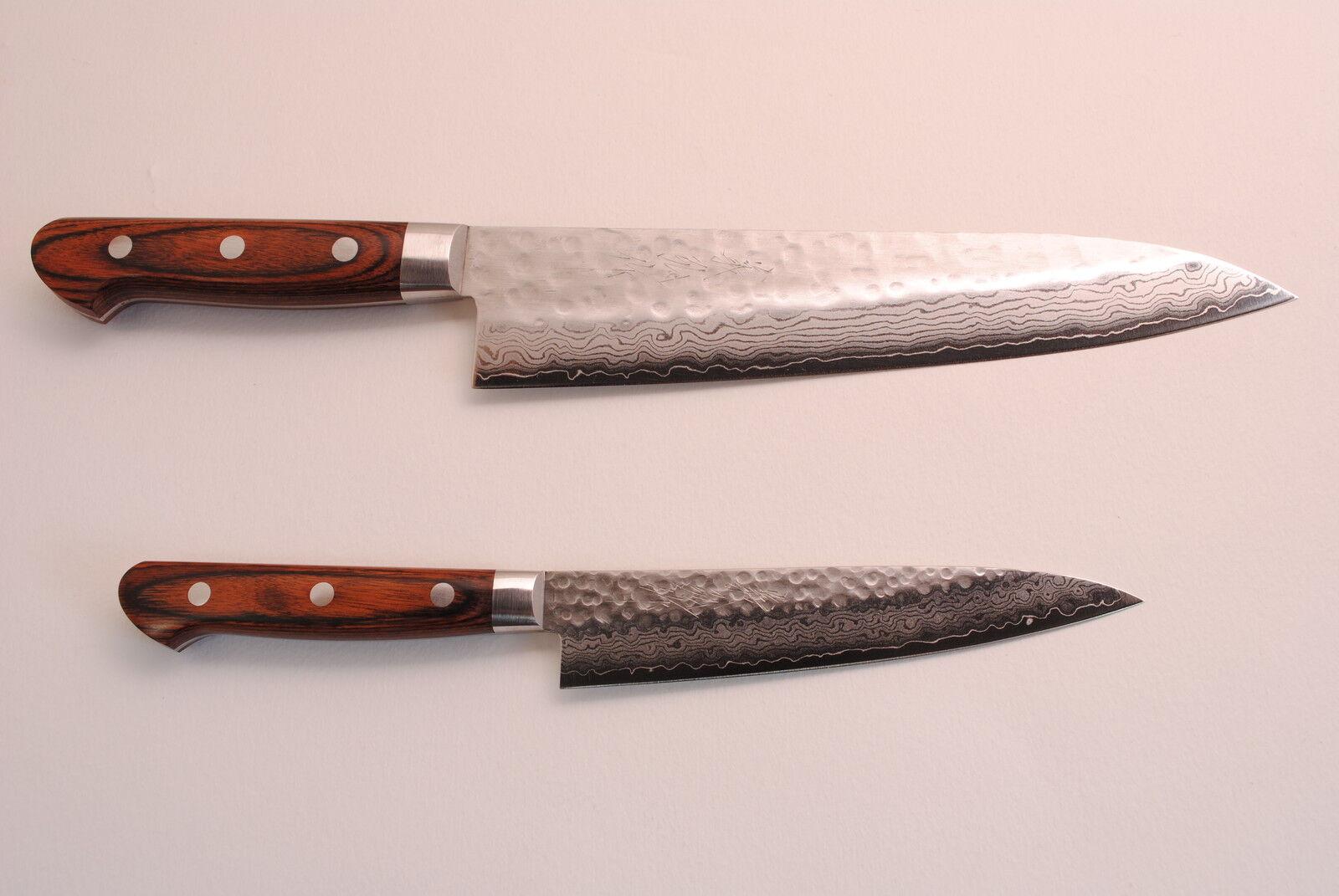 vg10 hammered damascus set gyuto 210 petty japanese sushi chef knife yoshihiro ebay. Black Bedroom Furniture Sets. Home Design Ideas