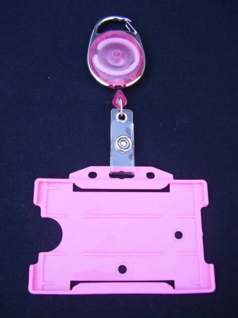 Pink Retractable Belt Clip Reel & Police/Security/SIA ID Pass Card/Badge Holder