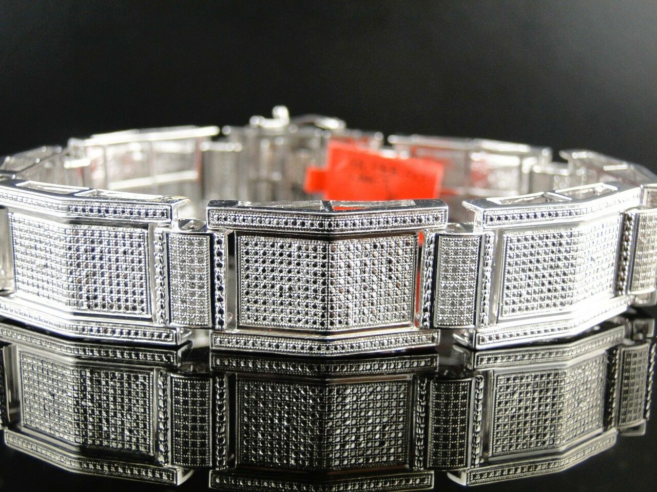 NEW MENS WHITE gold FINISH PAVE ROUND CUT 16 MM DIAMOND BRACELET 2.0 CT