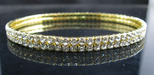 6* Stunning Clear Coloured Rhinestone Diamante Stone Gold Colour Anklet Bracelet