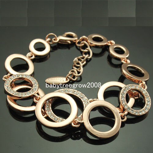 18k Rose Gold GP Clear  Swarovski Crystal Chain & Link Bracelet 47