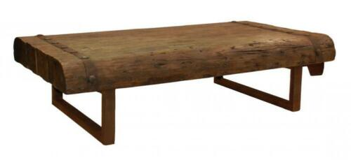 """Large 67"""" old reclaim wood and iron coffee table"""