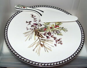 Lenox-Etchings-Collection-Footed-Cake-Plate-amp-Server-NEW-Yew-Pine-Eucalyptus