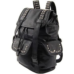 Black-Brown-Shiny-Metal-Stud-School-Punk-Backpack-Mans-amp-Womens-College-Bag