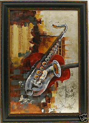 Abstract Saxophone Music Jazz Bass String Modern Metallic - FRAMED OIL PAINTING