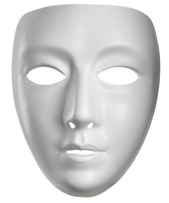 Blank Female Mardi Gras Venetian Plastic Face Mask Halloween Costume Accessory