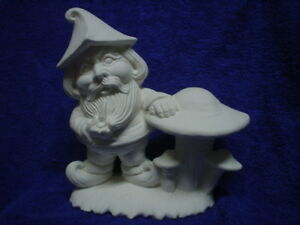 """E025 -Ceramic Bisque 7"""" Gnome Standing Beside Mushrooms- Ready to Paint"""