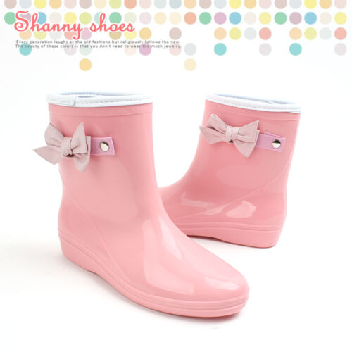 Women Ribbon Rain boots/Rubber boots/Rainboots/Ankle Shoes/Waterproof US8
