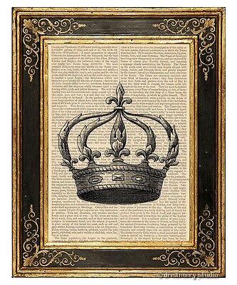 Crown 5 Art Print on Antique Book Page Vintage Illustration Tiara King Queen