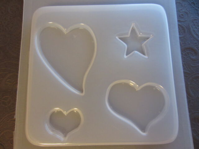 Resin Mold Flat Hearts & Stars 4 Count Jewelry Heart Pendant Star Molds SECONDS