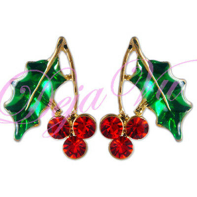 CRYSTAL CHRISTMAS RED MISTLETOE EARRINGS MADE WITH SWAROVSKI ELEMENTS