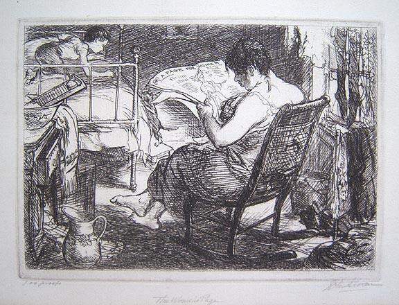 "JOHN SLOAN Signed 1905 Original Etching - ""The Women's Page"""