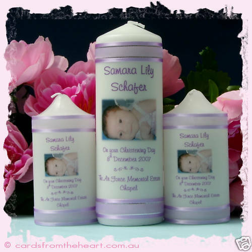 Personalised Candle SET- Baptism Christening Naming Day Boy Girl Baby Ceremony