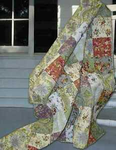 French-Country-Cottage-Tuscany-Patchwork-QUEEN-QUILT-amp-Shams-Set-3PC-Farmhouse