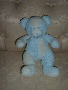 Russ Baby Blue Bear Rattle Hush-A-Bye Plush Sits Boy Stuffed Animal