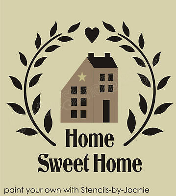 Stencil Folk Art Saltbox House Sweet Home Country Primitive Vine Wreath Heart