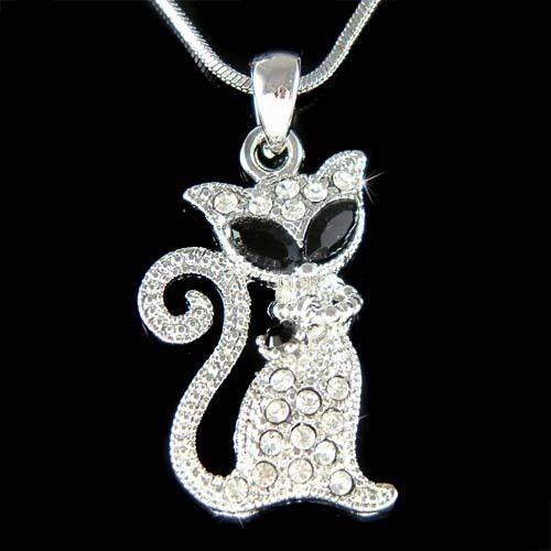 w Swarovski Crystal ~Black KITTY CAT Kitten Meow Animal Jewelry Pendant Necklace