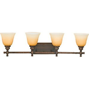 Unique brushed oil bronze 4 light bath wall fixture ebay - Brushed bronze bathroom light fixtures ...
