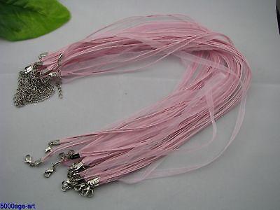 10Pink Lobster Clasp Organza Ribbon Waxen Cord necklace