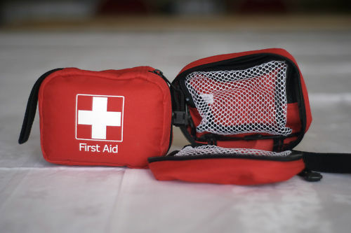 EMPTY FIRST AID KIT BAG WITH COMPARTMENTS - SMALL - RED